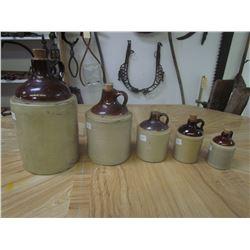 5 Whiskey jugs - 1/2 Pint to 1 Gal