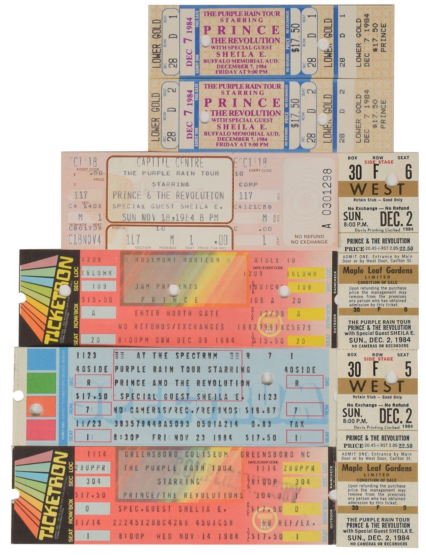 Prince 1984 Purple Rain Set of (8) Concert Tickets