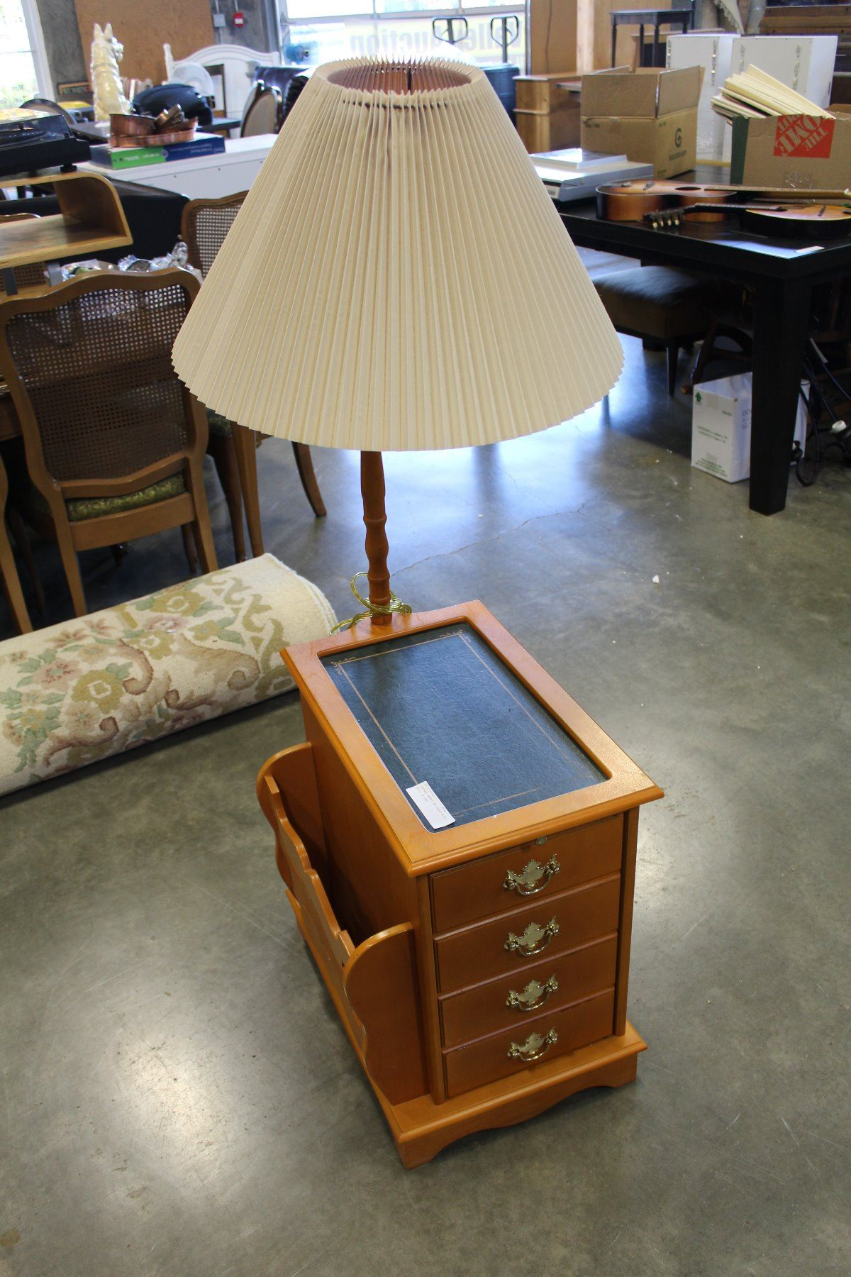 Leather Insert End Table With Built In Lamp