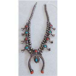 Petite Coral & Turquoise Squash Blossom Necklace