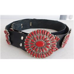 Faux Coral & Leather Concho Belt