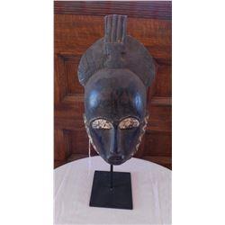 African Ligbe Lagoon Mask w/Stand
