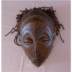 African Chokwe Wood Mask w/Raffia