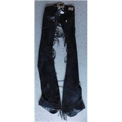 Fringed Black Leather Chaps