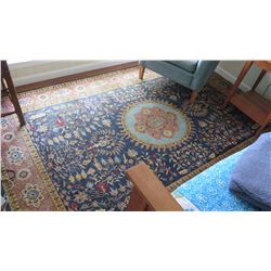 "Indo Rug, Saruk Design, 82"" X 106"" Charles Roberts, Dark Blue w/Gold Border, Light Blue Center Medal"