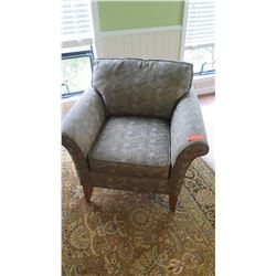 "Upholstered Armchair - Mckinnon ""Carter, Laura Lee"", Green Patterned, Cherry Legs, W: 35"" D: 33""  H:"