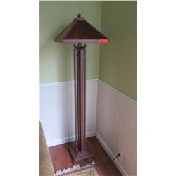 "Standing Lamp - Metal w/Glass Shade, Bay Lighting, H:64""  Shade: 17"""