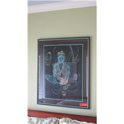 "Framed Art: Original Pastel by Performance Artist, 26""x31.5"", Circa 1987"