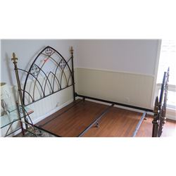 Queen Bedframe - Metal Framework, Hand Painted w/Fleur-De-Lis Accents