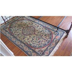 "Persian Nain Rug – Charles Roberts, Cream, Blue, Red, 50""x83"""