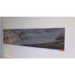 Triptych Painting- Mark Kadota, Circa 1999, Crescent Moon, Lehua, 6 x18