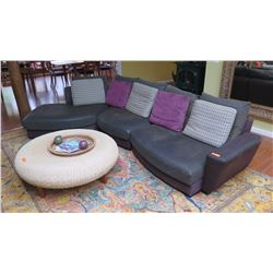 "Sofa Sectional – Ultrasuede, Roche Bobois ""Beach Bay"", Green w/Purple Trim, 5 Throw Pillows, L:11.5"""