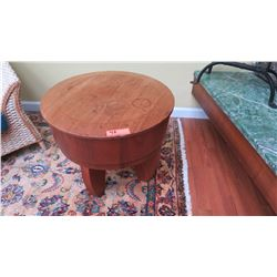"Round Contemporary Side Table - Natural Mahogany w/Lid, Klazo ""Taboret"", H:20"", Dia:24"""