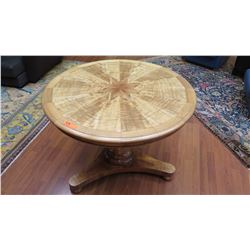Round Koa Pedestal Table - Riatea Woodworks, Custom Made, 30 H, Dia 39.5