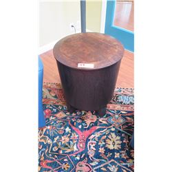 "Glazed Round Mahogany Side Table w/Lid - Klazo ""Kettle"", 22""H, Dia:18"""