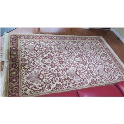Tea-Washed Magnolia Rug - Cream w/Burgundy & Tan, Charles Roberts, 77x96