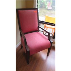 "Red Upholstered Side Chair w/Dark Wood Frame W:25"" D:22"" H:41"""