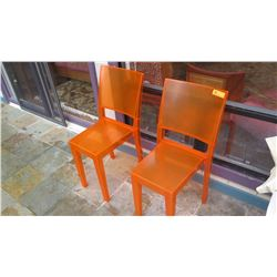 "Qty 2 Orange Acrylic Chairs - ""La Marie"", Philippe Starck Design, W:15"" D:21"" H:34"""