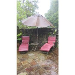 Qty 2 Slatted Teak Deck Chaise, W:24.5  L:62  H:36  (umbrella not included)