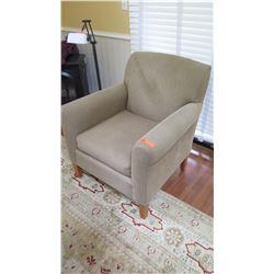 """Upholstered Armchair - Mckinnon """"Carter, Alderbrook"""", Beige Fabric, Cherry Legs, W: 31"""" D: 29""""  H: 3"""