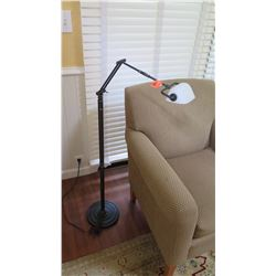 Adjustable Floor Lamp / Banker Lamp - Bronze & Glass, H:44""