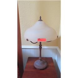 "Pair: Lamp w/Alabaster Shade, 2 Lightbulbs, H:29"", Shade Dia: 17"", Metal Base, From Bay Lighting"