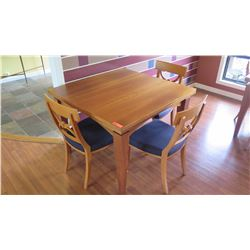 "Dining Table w/4 Chairs - Expandable To Double Size, Cherrywood, ""Tablo"", W: 39.5 L:39.5 H:30.5"