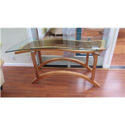 "Koa Art Piece Table w/Curved Glass Top, W:61.5"" D:22"" H:32"""