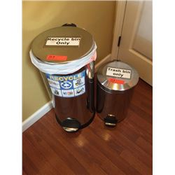 Stainless Steel Trash Containers w/Step-On Lever (1-small, 1-large)