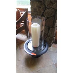 Large Glass Candle Stand w/Wooden Base, H:30""