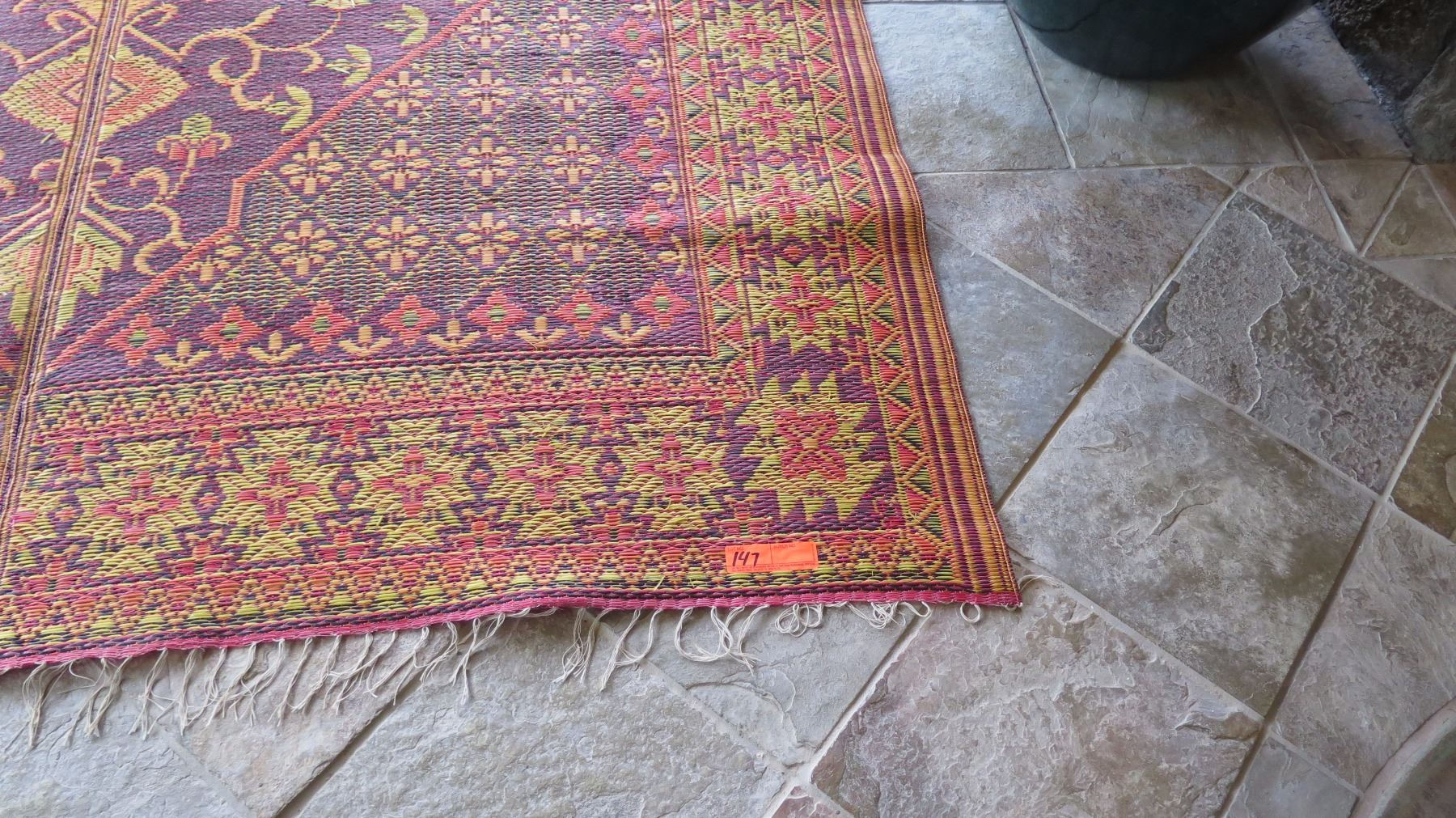 Qty 5 large woven plastic outdoor oriental rugs burgundy