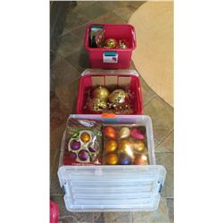 Qty 3 Containers of Christmas Tree Ornaments