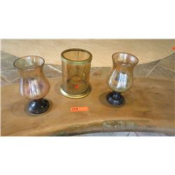 Qty 3 Large Glass Candle Holders