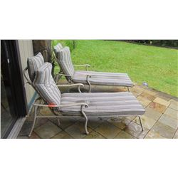 Qty 2 Metal Frame Patio Chaise/Loungers w/Cushions