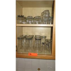 Tall & Short Beverage Glasses (shown on two shelves)