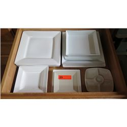 Entire Drawer of Misc. White Square Dishes/Serveware