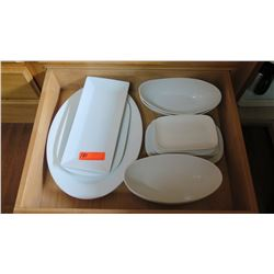 Entire Drawer of White Oval & Rectangular Serveware
