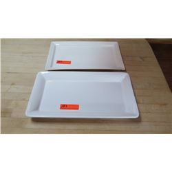 Qty 2 Large, White Square Serving Dishes