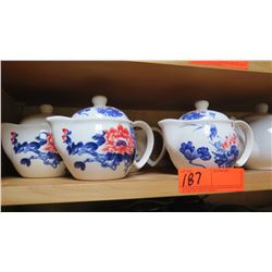 Qty 4 Porcelain Tea Pots (Blue & Red Floral Motif) and Creamer