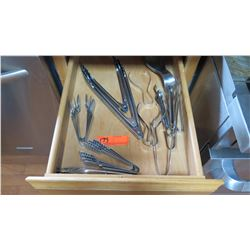 Entire Drawer: Misc. Tongs & Cooking Utensils (Various Shapes and Sizes)