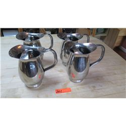 Qty 4 Stainless Steel Beverage Pitchers