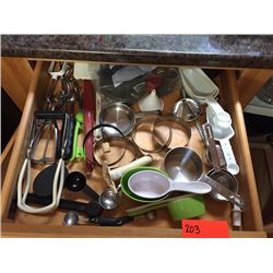 Drawer Of Measuring Cups, Spoons, Small Kitchen Gadgets