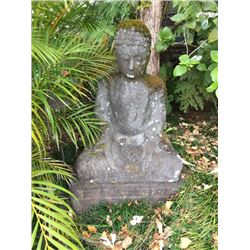 "Peaceful Buddha Statue - Carved Stone, H: 44"" X W: 28"" X D: 18"""