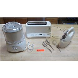 White Kitchen Appliances (Toaster, Mixer w/Accessories, Ice Cream Maker)