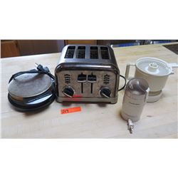Kitchen Equipment (Waffle Iron, 4-Slice Toaster, Juicer w/No Reamer, Coffee Grinder)