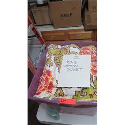 King Size Cotton Duvet - White w/Orange, Red, Green Floral Motif
