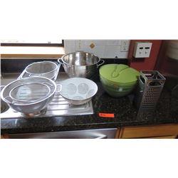 Misc.  Strainers, Colanders, Cheese Grater, Salad Tosser