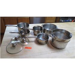 Misc. Stainless Steel Pots with Lids, Steamer  and Strainers
