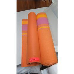 Qty 2 Orange, Striped Yoga Mats