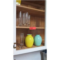 Cylinder Vases and 2 Color Vases (Yellow and Blue)
